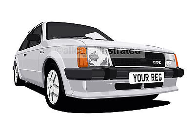 Vauxhall Astra Gte Mk1 Car Art Print Picture (Size A4). Personalise It!
