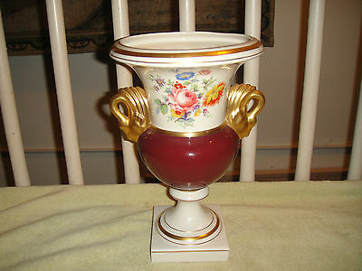 Vintage Floral Pattern Urn Vase-Swan Handles-Lamp Urn Base-Wide Mouth-Gold Trim