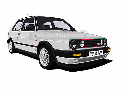 Vw Golf Gti Mk2 Graphic Car Art Print Picture (Size A4). Personalise It!