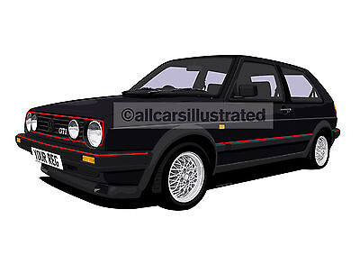 Vw Golf Gti Mk2 Graphic Car Art Print. Add Reg Detail, Choose Your Colour