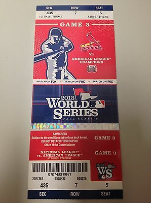 St Louis Cardinals World Series Game 3 Unused Tickets Stub v Boston Red Sox ~New