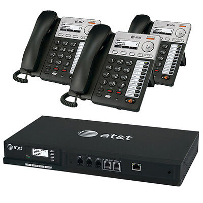 AT&T SB35010 Syn248 Business 4-Line IP Office Phone System +3 Phones +Voicemail