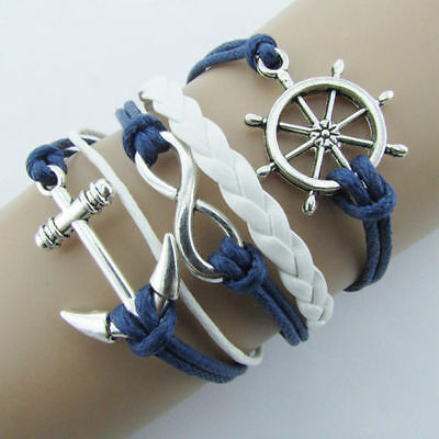 UK New Blue Rudder Anchor Leather Rope Bracelet Nautical Silver Plated Charms