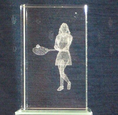 LADIES TENNIS PLAYER@3D CRYSTAL Laser Block@PAPER-WEIGHT@Etched image@Wimbledon?