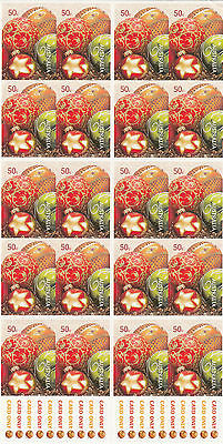 RARE stamps Australia 2008 Christmas 50c booklet pane of 20 error imperf top row