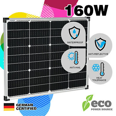 160W Mono Solar Panel 12V Single Power Kit Camping Power Source Charge Caravan