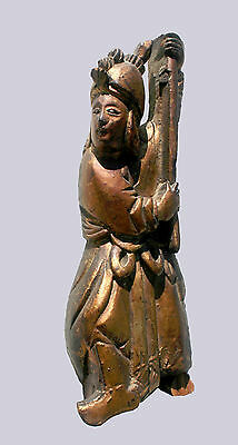 """Original Antique Very Old Chinese Carved Wooden Warrior Statue, China - 8"""" Tall"""