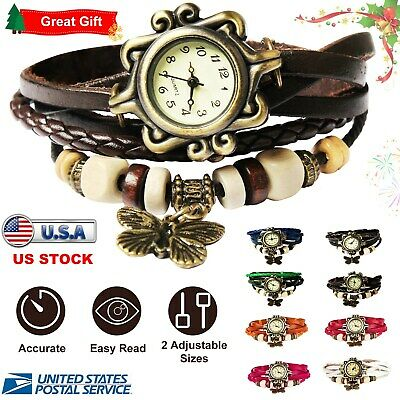 Women's Ladies Fashion Boho-Chic Handmade Leather Bracelet Watch Butterfly Gift