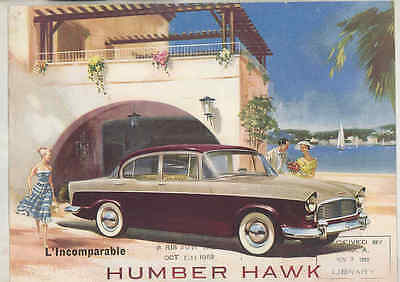 1960 Humber Hawk Brochure Poster French wt7050