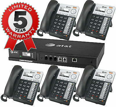 AT&T Synapse Small Business 4-Line IP Telephone System + 5 Phones + Voicemail
