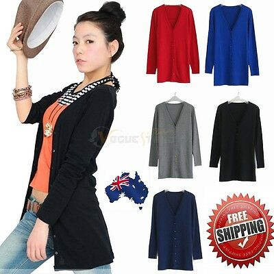 New Must Have Soft Cotton Cardigan Long Sleeve Casual V Neck 8 colors S M L XL