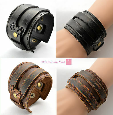 New Fashion Men Leather Buckle Wide Bracelet Wristband Bangle Cuff Gothic Punk