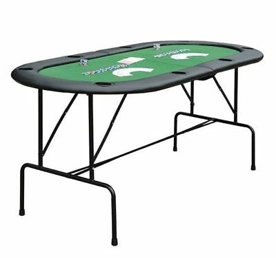 Foldable 8 Player Poker Blackjack Table Padded 2 in 1 w/ Cup Holders