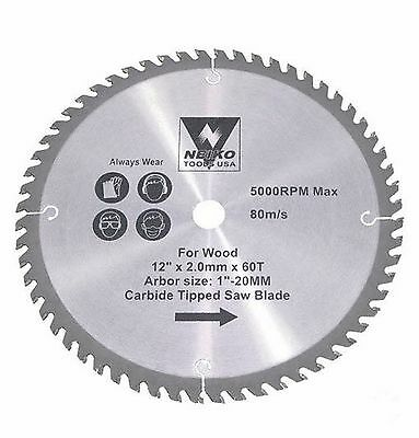 "NEIKO 10767A - 12"" x 60 Tooth Carbide Tipped Wood Saw Blade - New"