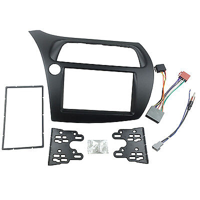 Double Din Fascia for Honda Civic Stereo Panel Dash Adapter + Harness Antenna