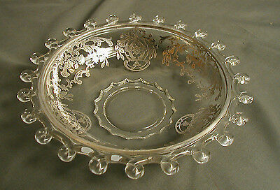 """VINTAGE HEISEY GLASS DISH - CLEAR W/ SIVLER OVERLAY - LARIAT PATTERN - 7"""" WIDE"""