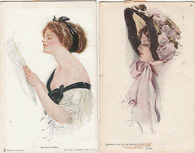 Postcard pair lovely women from USA postmarked Melbourne Australia  used local