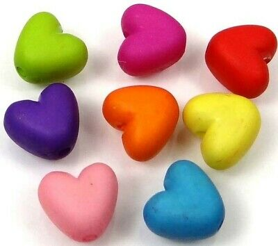 50 Mixed Color Frosted Matte Acrylic Heart Beads spacer 10x9mm