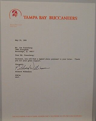 Signed Official Team Stationary>tampa Bay Buccaneers>coach>richard Williamson Autographs-original Photos