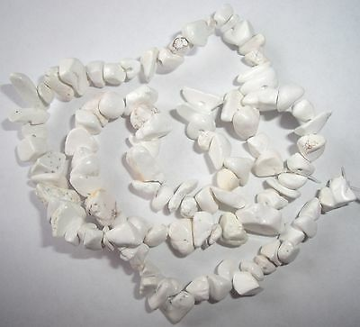 White chalk turquoise chip beads 16""