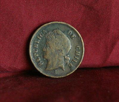 Chile 1 Centavo Un 1882 Copper World Coin Liberty Cap Santiago South America