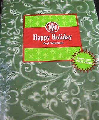 Happpy Holiday Green Swirl Flannel Back Vinyl Tablecloths Asst. Sizes & XL Sizes