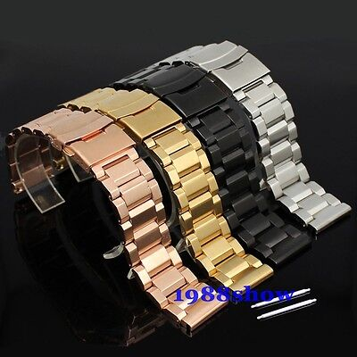 New 18 20 22 24 mm Heavy Double Lock Flip Clasp Stainless Watch Band Bracelet