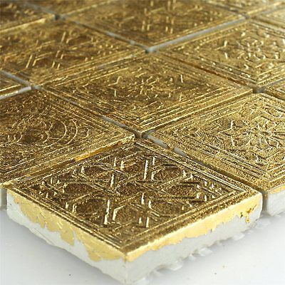 Ceramic Mosaic Tiles Gold 48x48x10mm