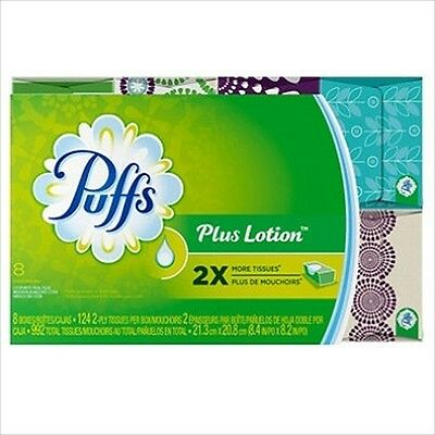 Puffs Plus Lotion Facial Tissue 8 Boxes 124 Ct Each - Brand New Item