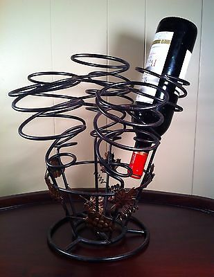 Wine Rack 6 Bottle Decorative Holder Grape Clusters Bar Tabletop Countertop