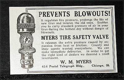 1914 Old Magazine Print Ad, Myers Tire Safety Valves, Prevents Blowouts On Cars!