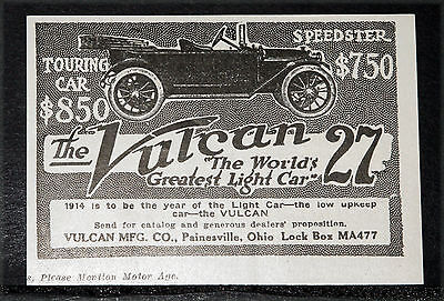 "1914 Old Magazine Print Ad, Vulcan Touring ""27"", The World's Greatest Light Car!"
