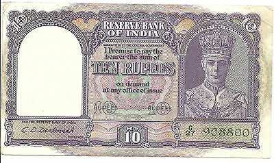 1943 India 10 Rupees Note;  P 24; AU/CU Condition; Almost Uncirculated