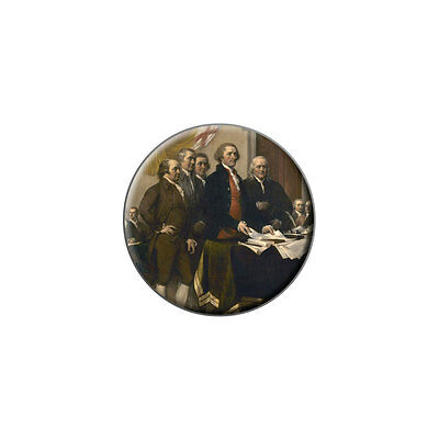 Signing of the Declaration of Independence Painting Lapel Hat Round Pin Tie Tack