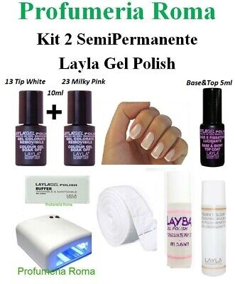 KIT 2 Layla Gel Polish Smalto UV Semipermanente Unghie SOAK OFF  con Lampada UV