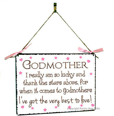 Godmother Hanging Shabby Chic Vintage Style Metal Plaque Sign Gift Present