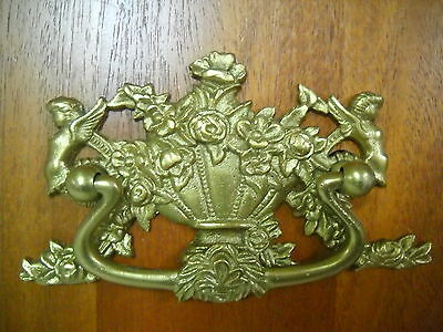 Ornate Antique Heavy Brass Victorian Drawer Pull Floral Basket