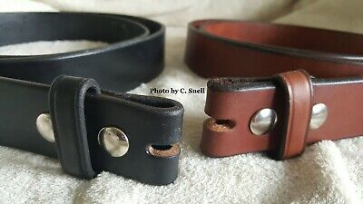 """Handmade Amish Leather Belt for Men or Women 1 1/2"""" width and NO Buckle"""