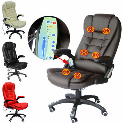 HOMCOM Reclining PU Leather Home Office Computer Swivel Chair Massage High Back