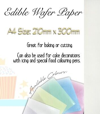 100 Sheets of Top That Quality White Edible Wafer Paper - A4 size sheets