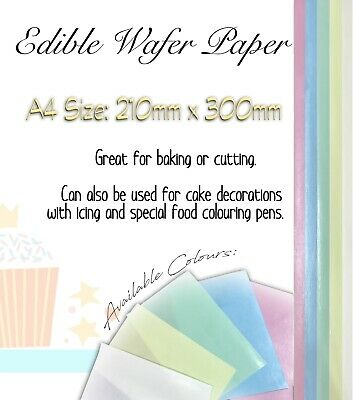 12 Sheets BakeEasy Edible Coloured Rice/Wafer Paper-A4 sized-Choose your colours