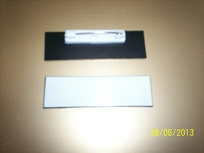 20 White Plastic Blank Name Tags Badges, Pins, 3/4 x 2.5 inches