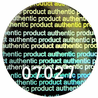 """LARGE """"AUTHENTIC PRODUCT"""" Hologram Stickers Labels, NUMBERED 20mm Round, VOID"""