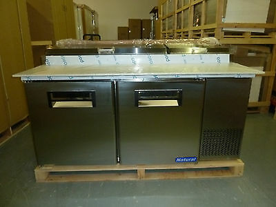 "Natural Cooler NCPT67-2 - 67"" Pizza Prep Table - 24 Month Warranty"