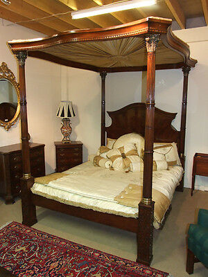Fantastic Solid Mahogany Four Poster Bed with Ormalu Mounts & Reeded Posts
