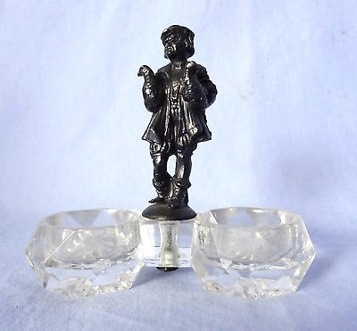 Salt Cellar Double Antique Crystal with Sterling Man holding Chickens
