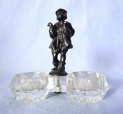 Salt Celler Double Antique Crystal with Sterling? Man holding Chickens