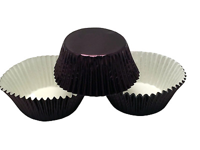 48 Black Foil Cupcake Liners Baking Cups Standard Size Cake  Decorations