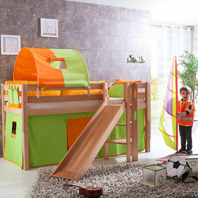 hochbett set buche massiv kinderbett spielbett rutsche. Black Bedroom Furniture Sets. Home Design Ideas