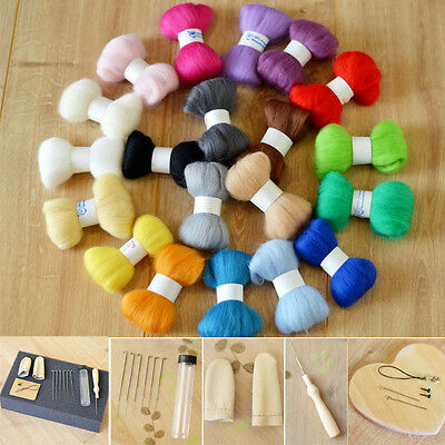 Needle Felting Starter Kit 200g Premium Australian Wool Felt Needles Mat Tools